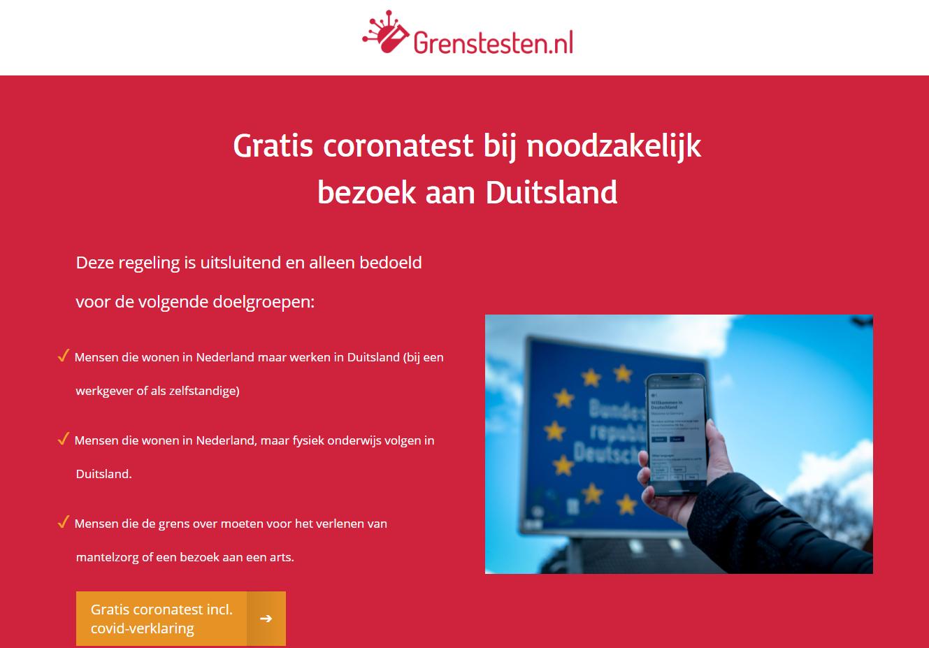 Gratis testlocaties voor Nederlandse grensgangers geopend